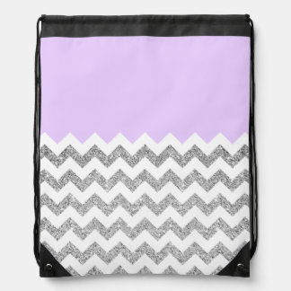 Lilac and Silver Faux Glitter Chevron Drawstring Bag