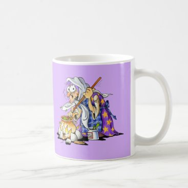 Halloween Themed Lilac And White Coffee Mugs With Purple Witch