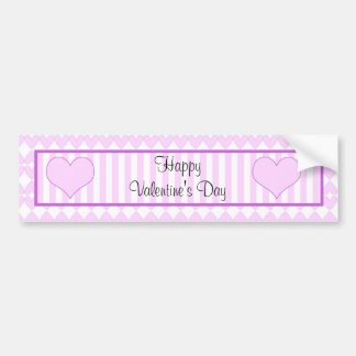 Lilac and white cute hearts and stripes bumper sticker