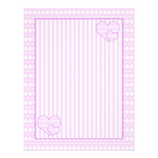 Lilac and white cute hearts and stripes letterhead