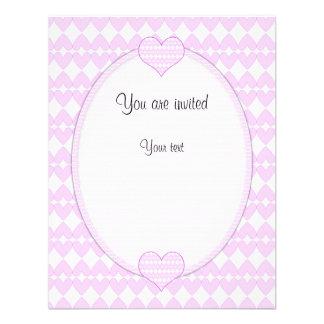 Lilac and white cute hearts invitation
