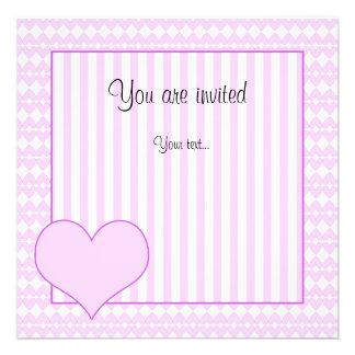 Lilac and white cute hearts custom invite