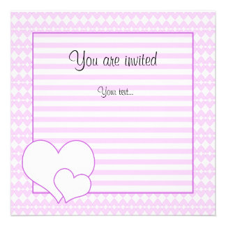 Lilac and white cute hearts invite