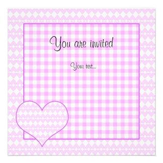 Lilac and white cute hearts invites