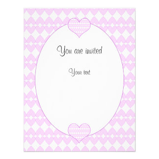 Lilac and white cute hearts personalized invitations