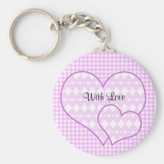 Lilac and white cute hearts keychain