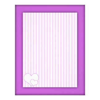 Lilac and white cute stripes and lilac frame letterhead