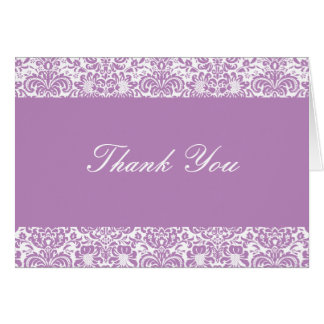 Lilac and White Damask Thank You Note Greeting Card