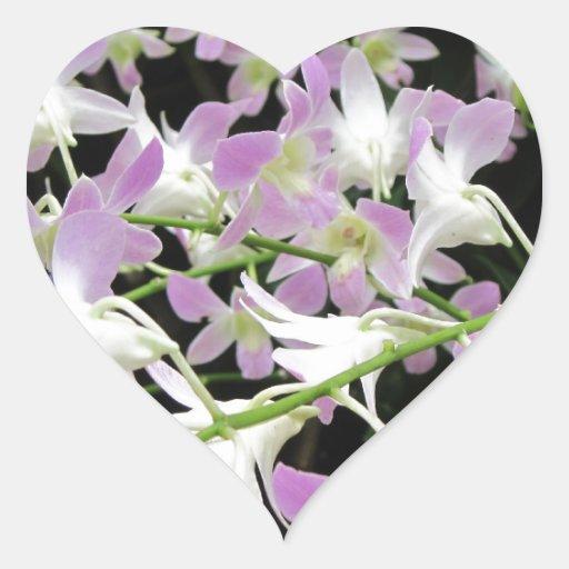 Lilac and white florabunda heart sticker