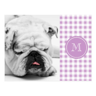Lilac and White Gingham, Your Monogram Postcard