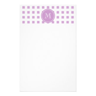 Lilac and White Gingham, Your Monogram Stationery Design