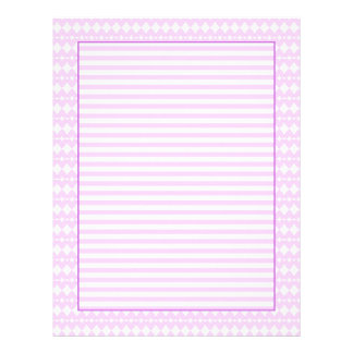 Lilac and white hearts and stripes letterhead