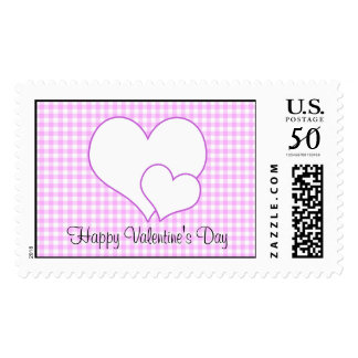 Lilac and white hearts on plaid pattern postage