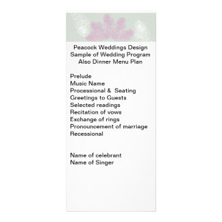Lilac and White Peacock Feathers Wedding Program Rack Card Design
