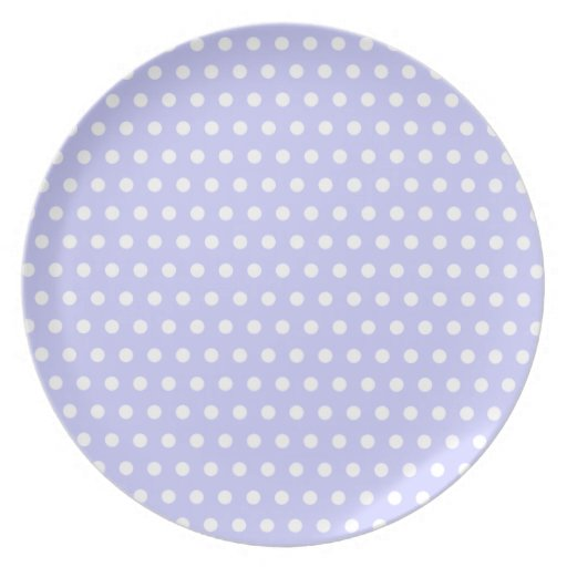 Lilac and White Polka Dot Pattern. Spotty. Plate