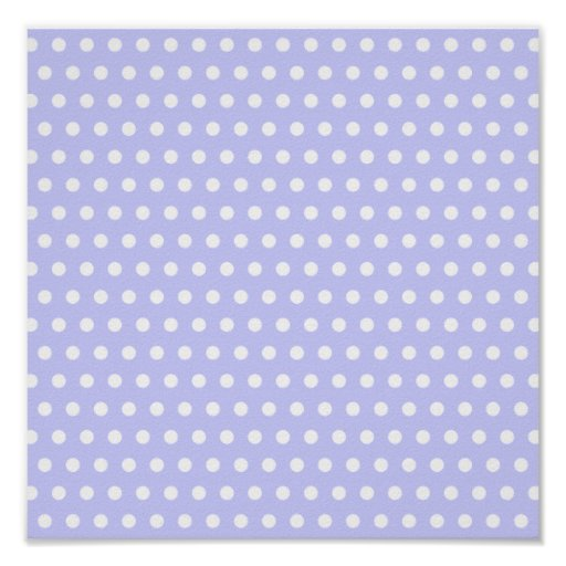 Lilac and White Polka Dot Pattern. Spotty. Poster