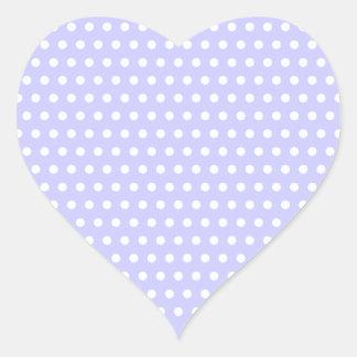 Lilac and White Polka Dot Pattern. Spotty. Heart Sticker