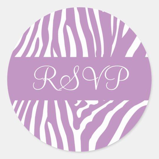 Lilac and White RSVP Zebra Envelope Sticker Seal