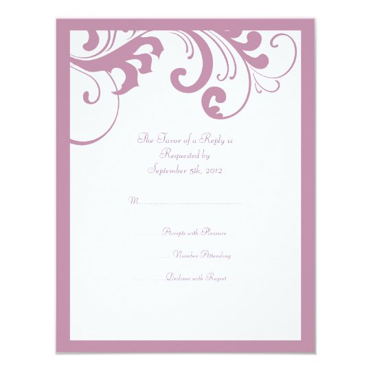 Lilac and White Swirls Frame Wedding RSVP Card