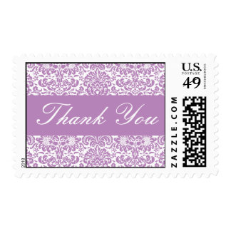 Lilac and White Thank You Damask Postage