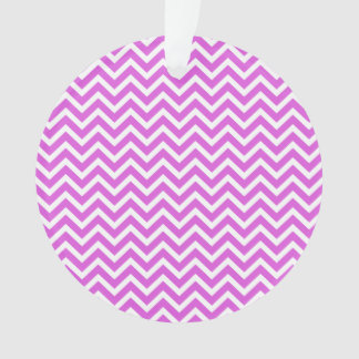 Lilac and White Valentine ZigZag Wavy Chevron Ornament