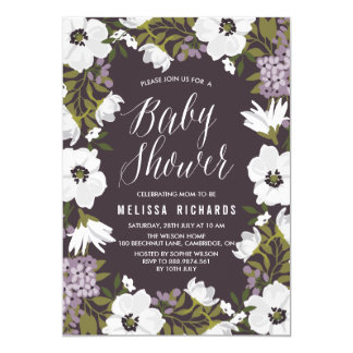 Lilac Anemone Blooms Baby Shower Invitation