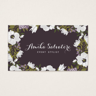 Lilac Anemone Blooms Personalized Floral Business Card