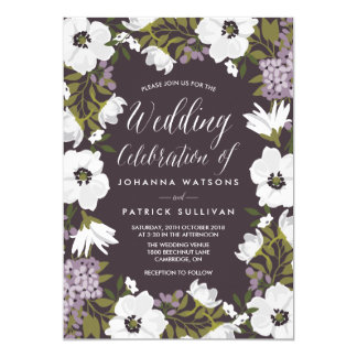 Lilac Anemone Blooms Wedding Invitation