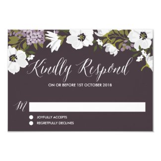 Lilac Anemone Blooms Wedding RSVP Cards