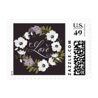 Lilac Anemone Wreath | LOVE Wedding Stamp