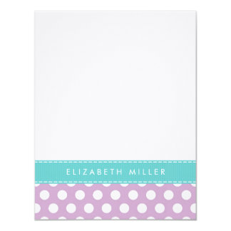 Lilac & Aqua Ribbon Polka Dots Monogram Note Card