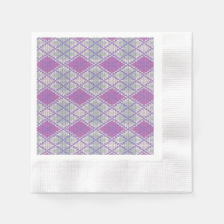 Lilac Argyle Knit Coined Cocktail Paper Napkins
