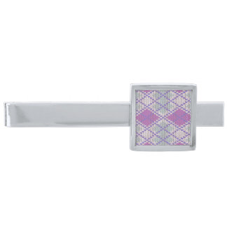 Lilac Argyle Knit Silver Plated Modern Tie Bar