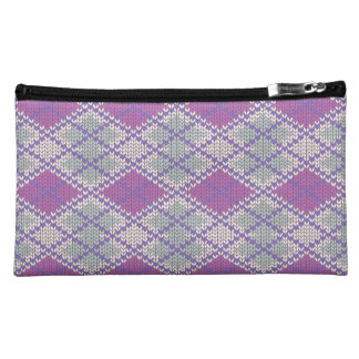Lilac Argyle Knit Sueded Medium Cosmetic Bag