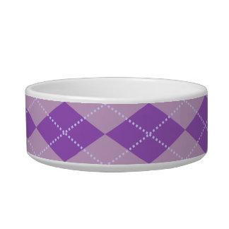 Lilac Argyle Pattern Cat Food Bowl