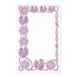 Lilac Art nouveau floral frame Stationery Design