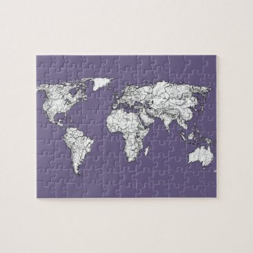 USA Themed lilac atlas world map jigsaw puzzle
