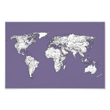 USA Themed lilac atlas world map photo print