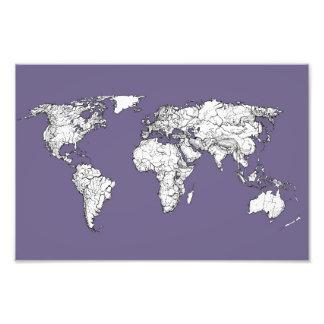 lilac atlas world map photo art