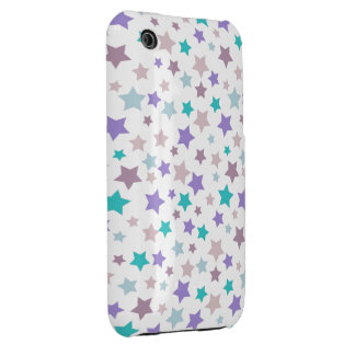 Lilac Baby Blue and Pink stars pattern on White iPhone 3 Cover