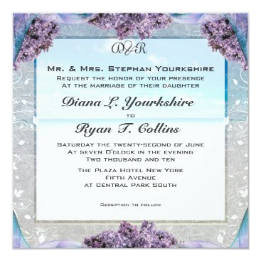 Beach Themed Lilac Beach Wedding Invitation