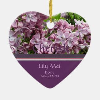 Lilac Birth Announcement Ornament