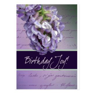 Lilac birthday joy postcard
