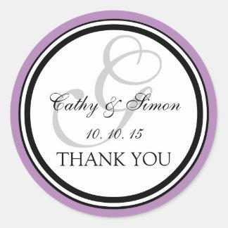 Lilac Black Monogram G Wedding Thank You Classic Round Sticker