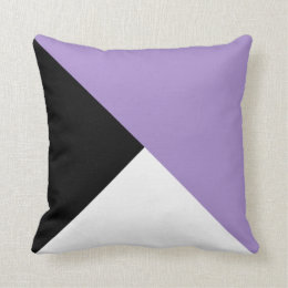 Lilac Black White Diagonal Color Block Pillow