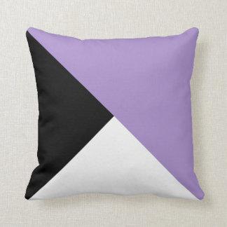 Lilac Black White Diagonal Color Block Pillow
