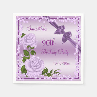 Lilac Blossom, Bows & Diamonds 90th Napkin