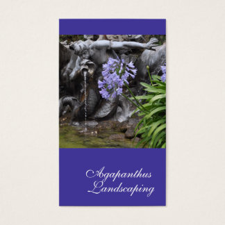 Lilac blue Agapanthus flowers and fountain Business Card