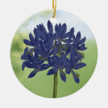 Lilac Blue Agapanthus in the Garden Double-Sided Ceramic Round Christmas Ornament