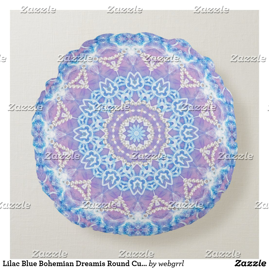 Lilac Blue Bohemian Dreamis Round Cushion